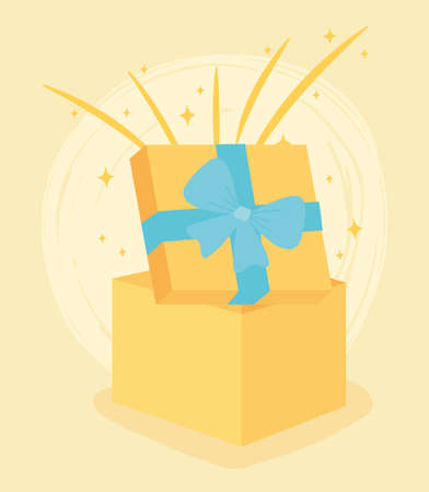 yellow gift box open surprise celebration party vector illustration 版權商用圖片 - 156772067