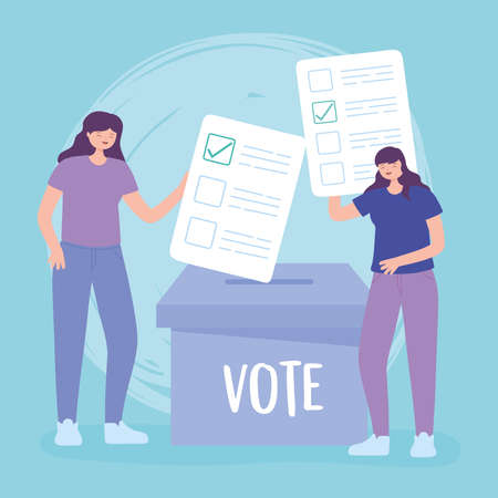 election day, young women with ballots and cardboard box voting vector illustration