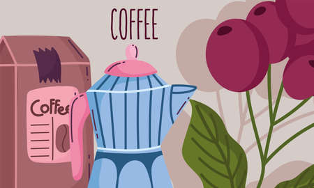 coffee brewing methods, moka pot package product grains card vector illustration