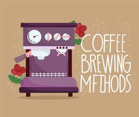coffee brewing methods, espresso machine branch with grains vector illustration