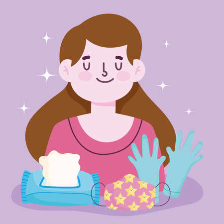 new normal lifestyle, girl with mask gloves and tissue paper vector illustration