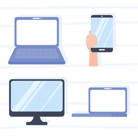 laptop computer monitor hand with smartphone devices vector illustration