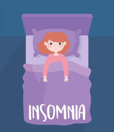 insomnia, worried girl on bed sleepless, top view vector illustration  イラスト・ベクター素材