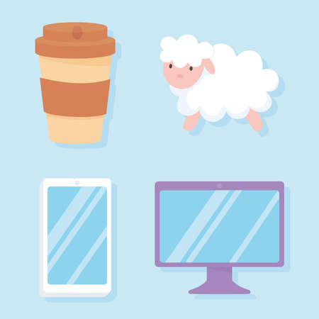 insomnia, sheep computer mobile and coffee cup icons vector illustration