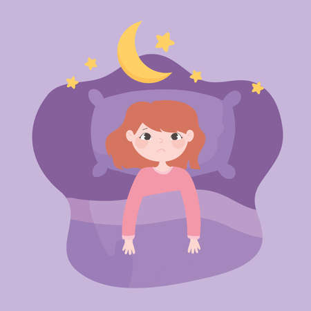 insomnia, top view sleepless girl in the bed vector illustration