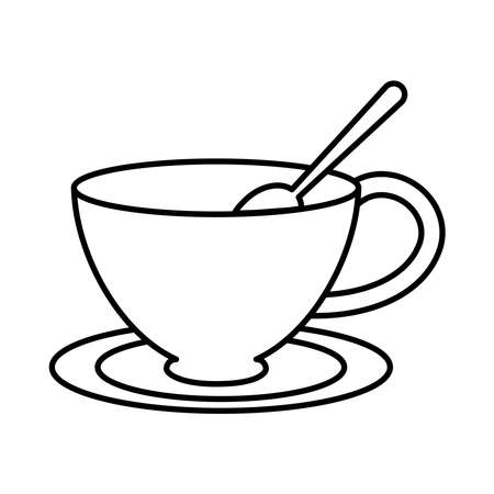 tea, cup with spoon on saucer line icon vector illustration
