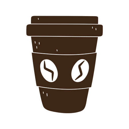 coffee takeaway disposable cup isolated icon style vector illustration silhouette icon style