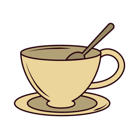 tea, cup with spoon on saucer line and fill vector illustration