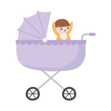 happy baby in pram cartoon isolated icon style vector illustration