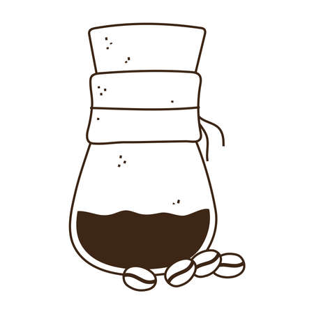 coffee brewing methods with a grains vector illustration line style