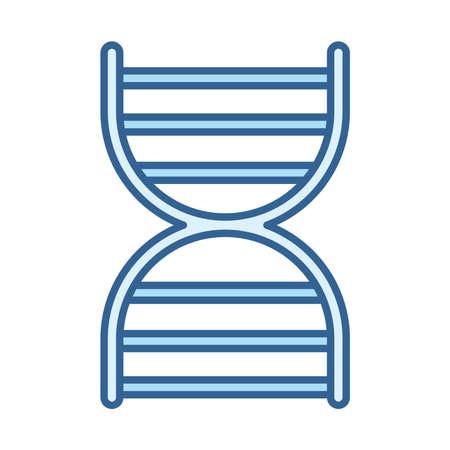 dna molecule genetic science vector illustration line fill blue icon