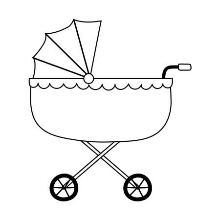 baby pram isolated icon style vector illustration line style icon