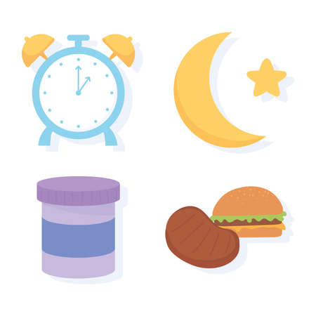 insomnia, clock moon night food medicine icons vector illustration  イラスト・ベクター素材