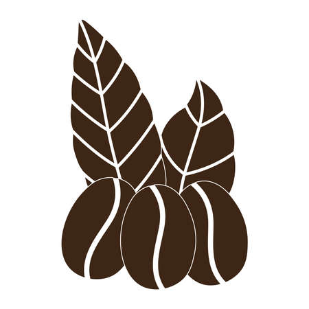 coffee grains leaves organic nature vector illustration silhouette icon style