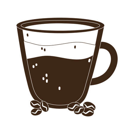 international day of coffee glass cup and grains vector illustration silhouette icon style