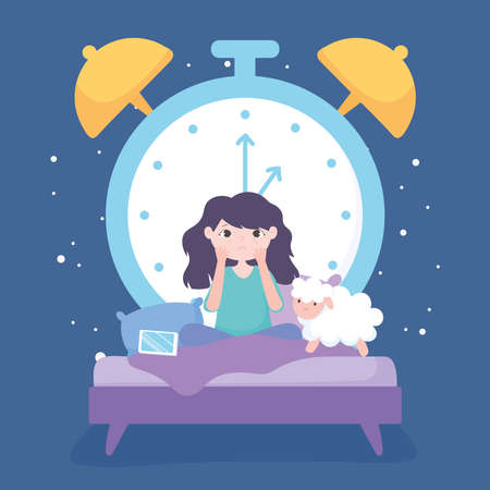 insomnia, sad girl in the bed with mobile sheep and big clock background vector illustration