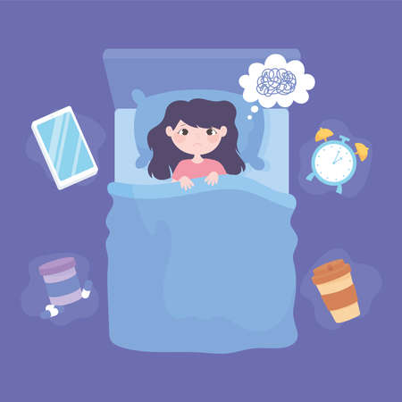 insomnia, top view girl in the bed depressed vector illustration  イラスト・ベクター素材