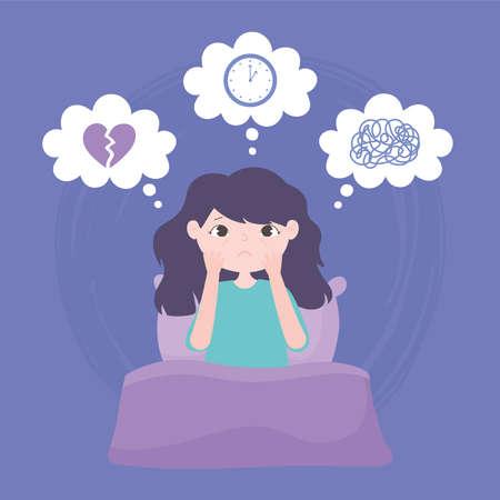 insomnia, sad girl on bed sleepless depression vector illustration  イラスト・ベクター素材