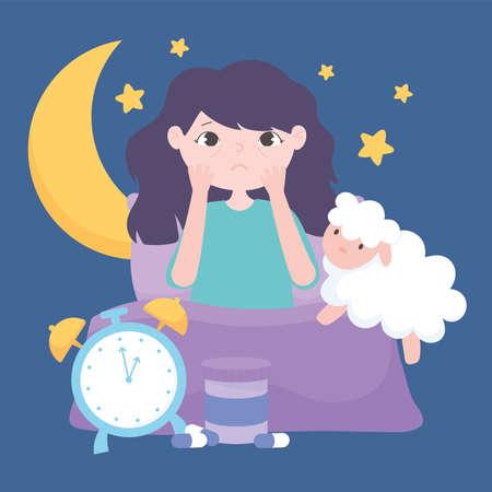 insomnia, sleepless girl on bed with sheep clock moon stars night vector illustration  イラスト・ベクター素材