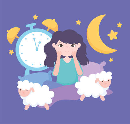 insomnia, worried girl in the bed with sheeps and clock vector illustration  イラスト・ベクター素材