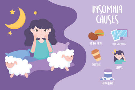 insomnia, girl with sleep disorder, causes caffeine heavy meal medicine stress and bad habits vector illustration