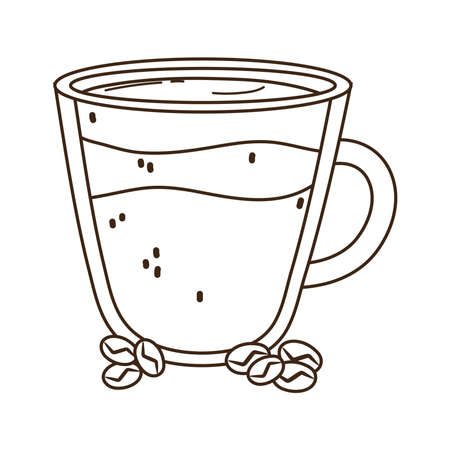international day of coffee glass cup and grains vector illustration line style