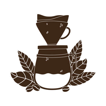 coffee brewing methods, drip maker coffee grains and leaves vector illustration silhouette icon style