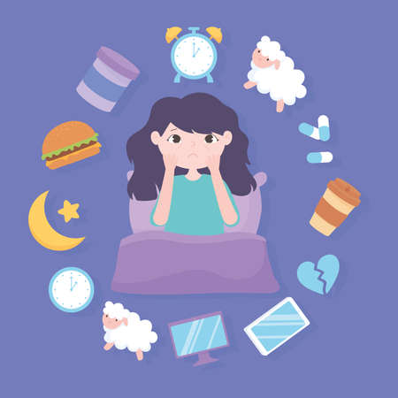 insomnia, girl and reasons of the disease heavy meal medicine caffeine stress and poor sleep habits vector illustration
