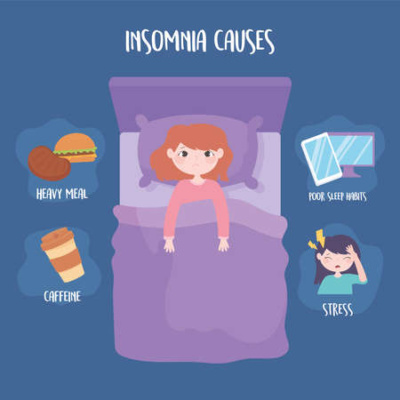 insomnia causes stress heavy meal caffeine and poor sleep habits vector illustration
