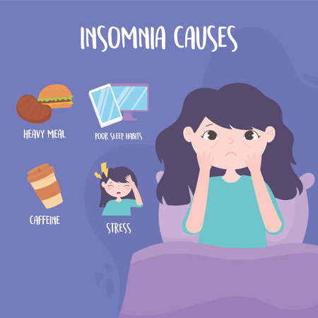 insomnia, girl with eye bags and causes disorder stress heavy meal caffeine and poor sleep habits vector illustration