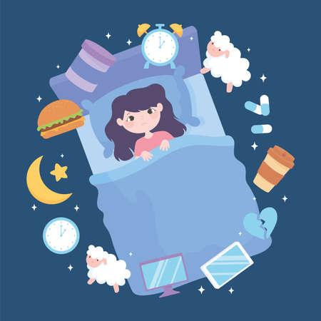 insomnia, girl sleep disorder, causes heavy meal medicine caffeine stress and poor sleep habits vector illustration