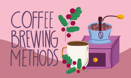 coffee brewing methods, manual grinder cup and branch with grains vector illustration Ilustracja
