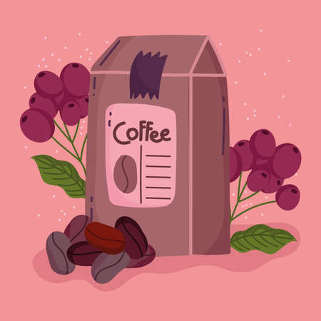 coffee brewing methods, pack product seeds and dry grains vector illustration Ilustracja