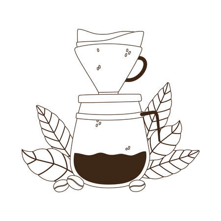 coffee brewing methods, drip maker coffee grains and leaves vector illustration line style
