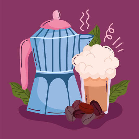 coffee brewing methods, moka pot smoothie and grains vector illustration Ilustracja