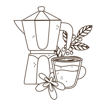 international day of coffee, kettle cup flower branch and grains vector illustration line style Ilustracja