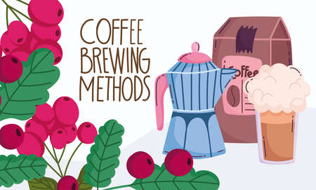 coffee brewing methods, moka pot pack product frappe and branch grains vector illustration Ilustracja