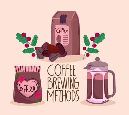 coffee brewing methods, packages with coffee kettle and grains vector illustration