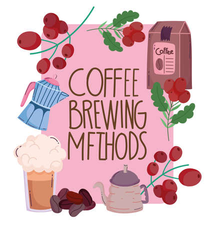coffee brewing methods, greeting card kettle frappe pack and grains vector illustration Ilustracja