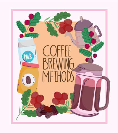 coffee brewing methods, vintage poster with kettle pack milk and frame with grains vector illustration