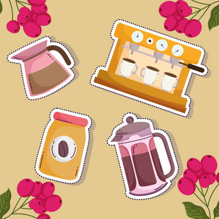 coffee brewing methods, cappuccino machine kettle french press bottle and grains background vector illustration