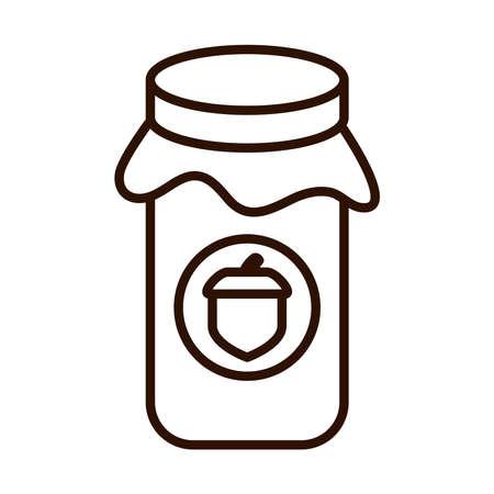 jar with jelly acorn autumn food vector illustration line icon style