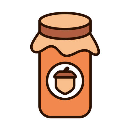 jar with jelly acorn autumn food vector illustration line fill icon