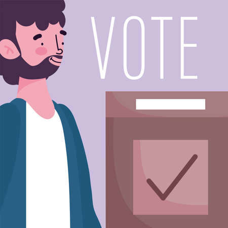 voting and election concept, bearded man with cardboard box vector illustration Ilustrace