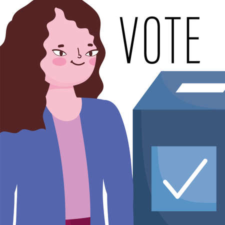 voting and election concept, cartoon woman with vote cardboard box vector illustration