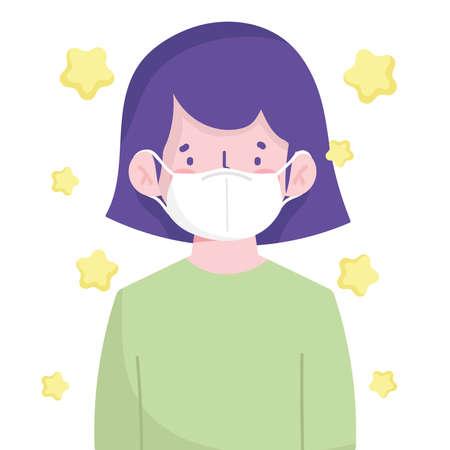 girl wearing medical mask cartoon new normal vector illustration Ilustracja