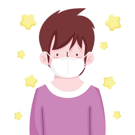young man with protective mask new normal vector illustration Ilustracja
