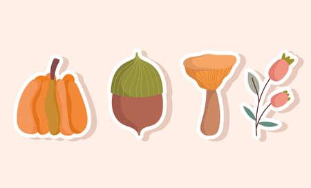 happy thanksgiving decoration pumpkin acorn mushroom and flower icons vector illustration