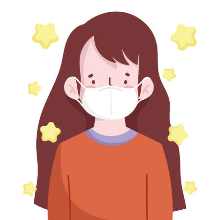 young woman portrait with medical mask new normal vector illustration