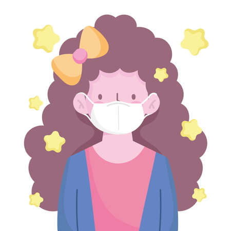 girl with curly long hair and medical mask character cartoon new normal vector illustration